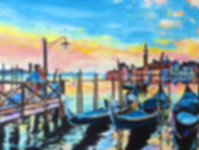 Gondola, Italy, Venice, reflections, sunset, laura palermo, paintings by palermo