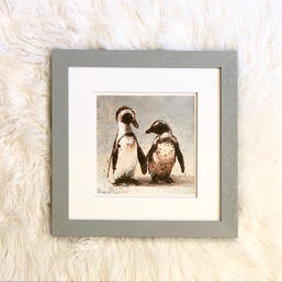 African Penguins - Gray Frame