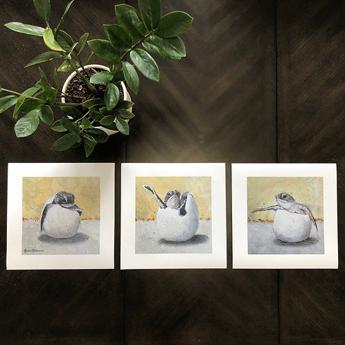 Turtle Hatchlings Triptych- Yellow