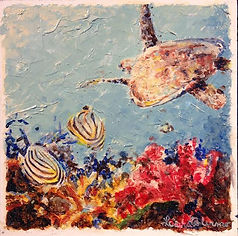 Laura Palermo, sea turtle art, sea turtle, endangered, conservation, sea turtle painting, baby turtle, colorful, painting, Charleston, South Carolina Aquarium, ocean, scuba, Paintings by Palermo