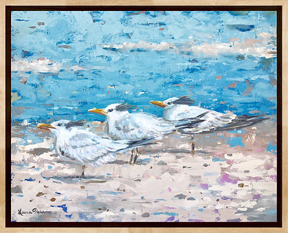 royal terns, shorebird, beach, decor, painting, print, art, ocean, birds, laura palermo