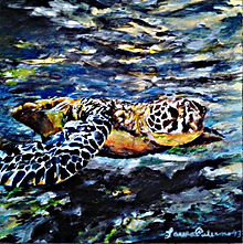 Laura Palermo, Paintings by Palermo, art, painting, sea turtle art, sea turtle, ocean, conservation, endangered, animal, scuba, underwater, Charleston, reef, colorful, nature, blue, South Carolina Aquarium, green turtle