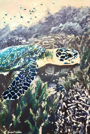 Laura Palermo, Paintings by Palermo, art, painting, sea turtle art, sea turtle, ocean, conservation, endangered, animal, scuba, underwater, Charleston, reef, colorful, nature, blue, South Carolina Aquarium, coral, Hawksbill, hunting