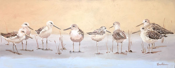 In Good Company, sandpiper, painting, bird, art, beach, decor, ocean, painting, birds, birds in a row