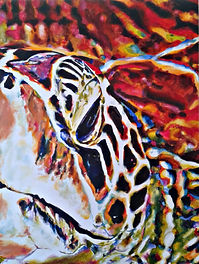 Laura Palermo, Paintings by Palermo, art, painting, sea turtle art, sea turtle, ocean, conservation, endangered, animal, scuba, underwater, Charleston, reef, colorful, nature, South Carolina Aquarium, green turtle, red, Amelia, close up, abstract