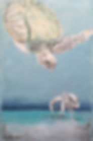 Laura Palermo, Paintings by Palermo, art, painting, sea turtle art, sea turtle, ocean, conservation, endangered, animal, scuba, underwater, Charleston, reef, colorful, nature, blue, South Carolina Aquarium, green turtle, crab, Eddie