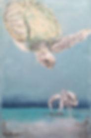 Laura Palermo, Paintings by Palermo, art, painting, sea turtle art, sea turtle, ocean, conservation, endangered, animal, scuba, underwater, Charleston, reef, colorful, nature, blue, South Carolina Aquarium, green turtle, crab, Eddie