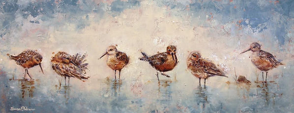 Red Knots, impressionism, laura palermo, paintings by palermo, wildlife, conservations, art, activism, endangered, Charleston, SC, South Carolilna, beach, Naples, FL, Florida, sandpiper, SC Aquarium, preservation, blue, water, shorebird
