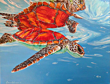 Laura Palermo, Paintings by Palermo, orange, art, painting, sea turtle art, sea turtle, ocean, conservation, endangered, animal, scuba, underwater, Charleston, reef, colorful, nature, blue, South Carolina Aquarium, Loggerhead, reflection, print