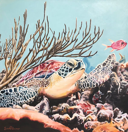 Sully, sea turtle, painting, art, laura palermo, beach, decor, home, coral, underwater, painting, print