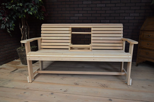 5ft Cypress Roll Bench with Flip Cup Holder