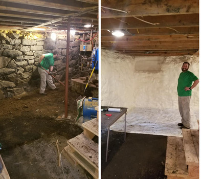 Spray foam before and after