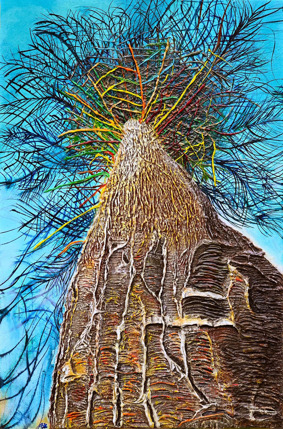 Acrylic Painting, Tree, Monkey Puzzle, Colourful, Art