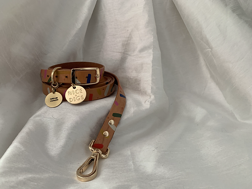 "Nice Digs Confetti Leather Walk Set with CNDR ""BADASS PUPPER"" brass stamped tag"