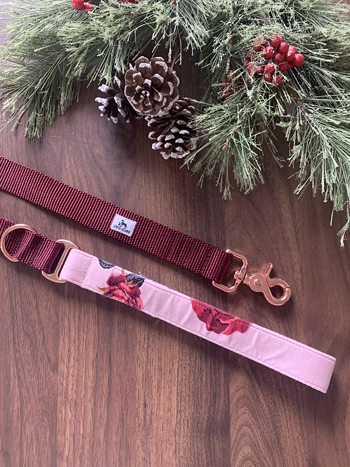 Burgundy and Rose Lewis and Clark Leash
