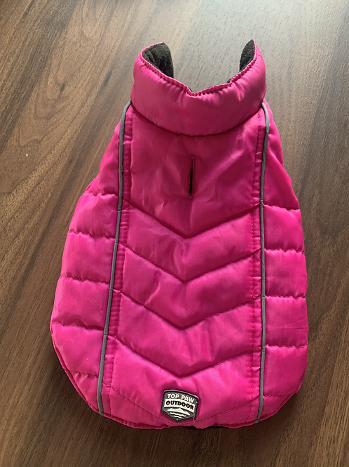 Neon Pink Puffer Jacket - SMALL
