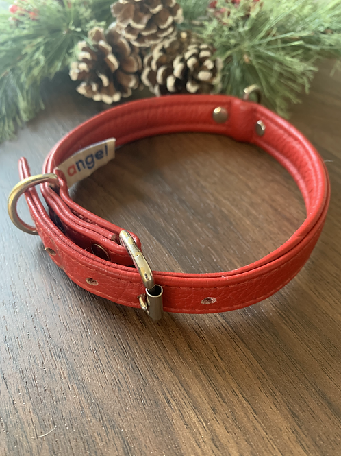 Red Genuine Leather Collar - S/M