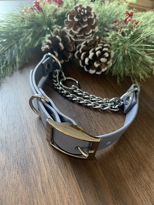 Grey and Nickel Biothane Martingale - MEDIUM