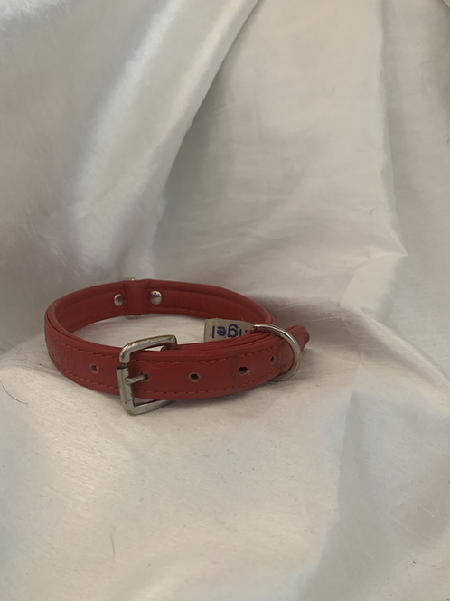 Angel Red Leather Collar - SMALL