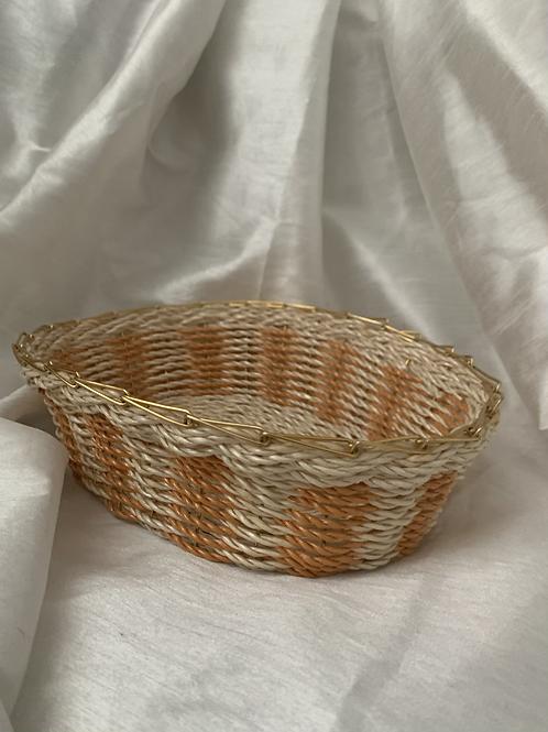 Small peaches + cream wicker catch all basket