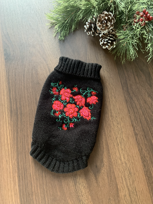 Rose Embroidered Sweater - XS