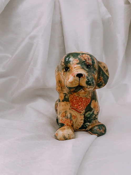 Floral Patchwork Ceramic Dog Figurine