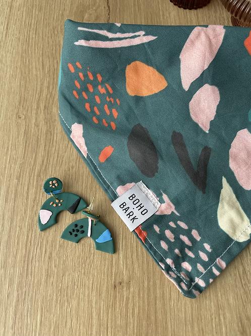 Boho and Bark bandana and matching earrings - medium