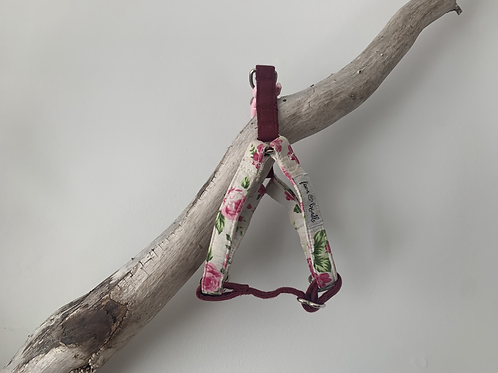 Floral + Burgundy Fawn & Brindle Harness - SMALL