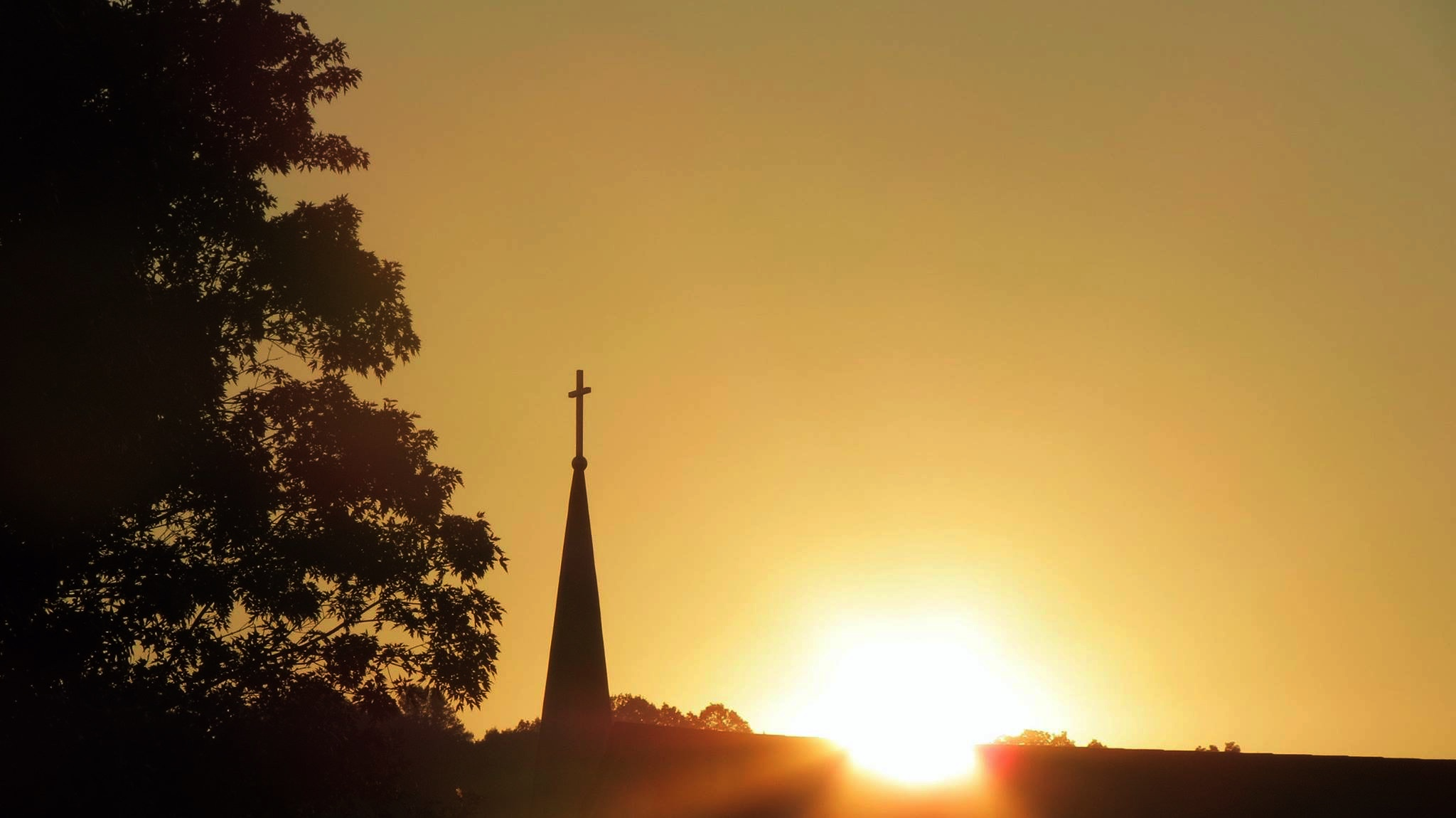 church steeple sunset