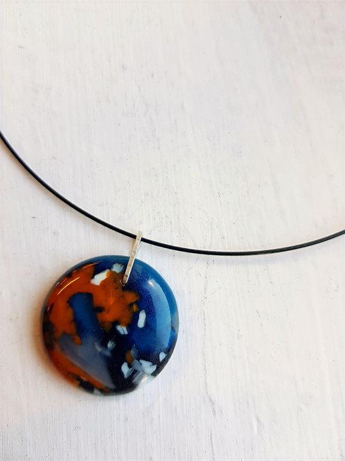 Planet pendant orange blue med