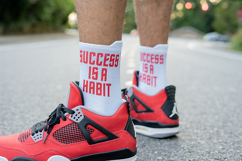 """Success Is A Habit"" Sock- White/Red"