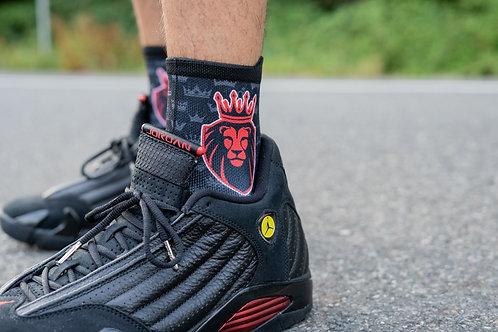 Lion Sock- Black/Red
