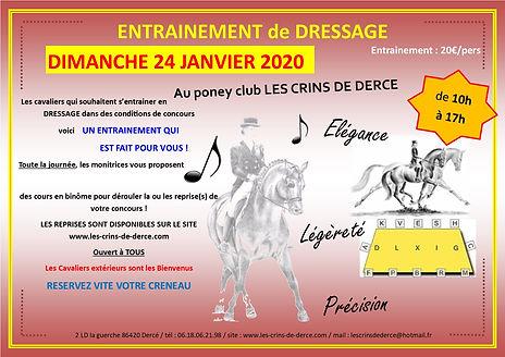 AFFICHE ENTRAINEMENT dressage janvier 20