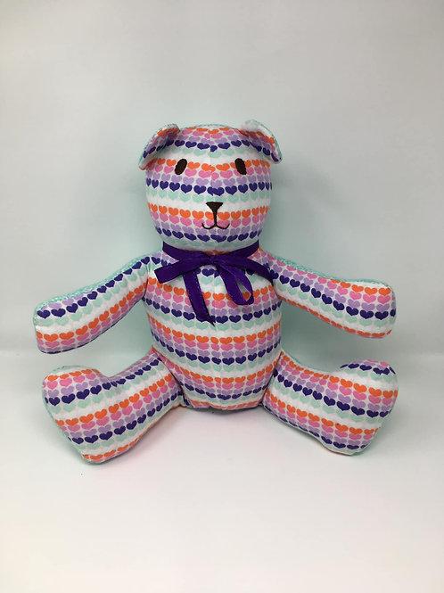 Two Tone Multi- Colored Heart Bear
