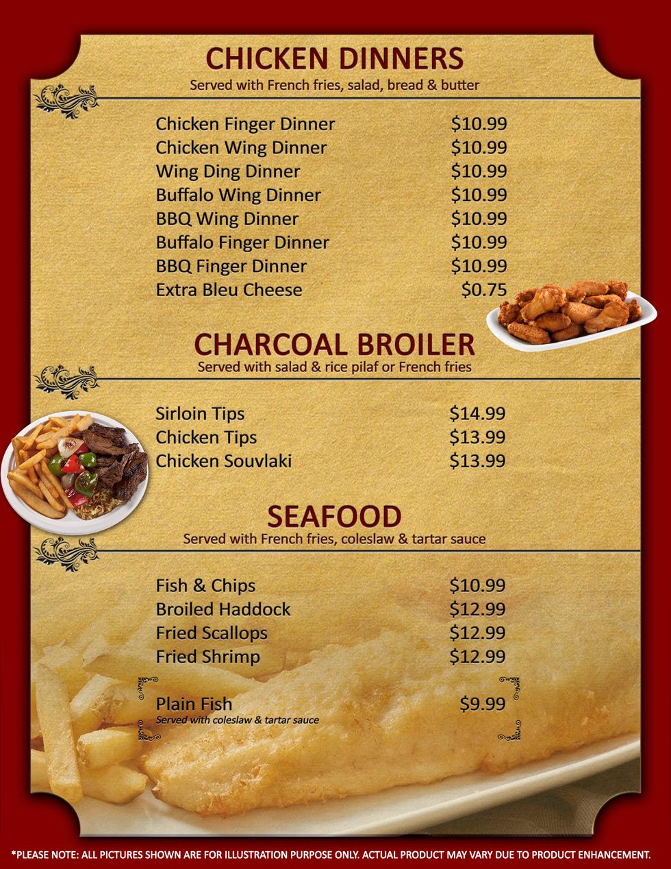 Chicken, Steak & Seafood Dinners