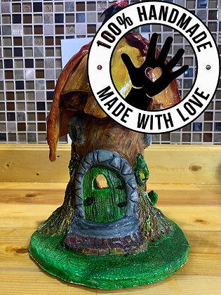 Handmade Fairy Tree House with Flower Roof/Tea-light Holder