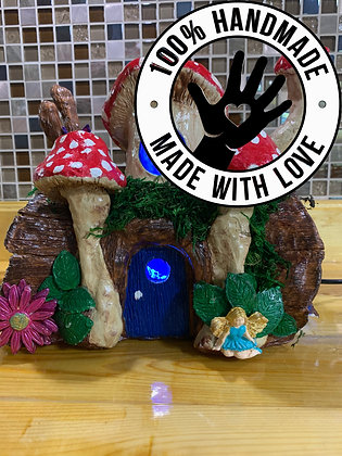 Handmade Fairy Tree-Log House/Night Lamp