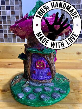 Handmade Fairy Tree House with Flower Roof