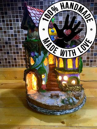 Handmade Triple 2-Story Fairy House/Night Lamp