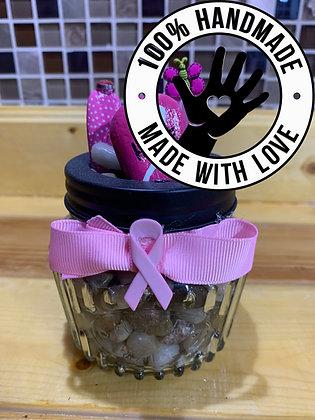 "Handmade Cancer Awareness ""Hope"" Gift Mini Jar"
