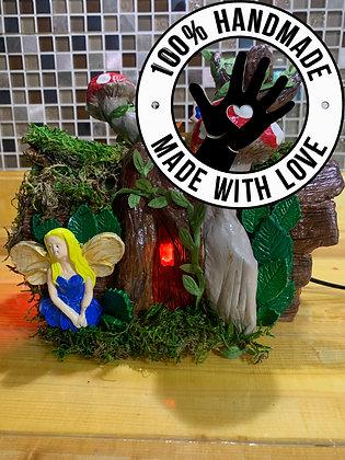 Handmade Tree-Log Fairy House/Night Lamp