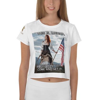 """""""THIS. IS. AMERICA."""" All-Over Print Crop Tee"""