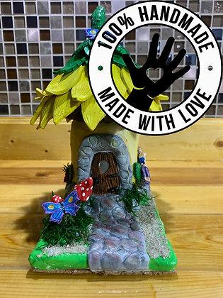 Handmade Clay Fairy House/Tea-light Holder