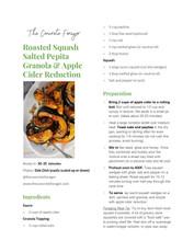 Roasted Squash Savory Granola & Apple Cider Reduction Drizzle