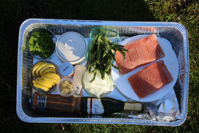 Salmon, Spruce Tips & Champagne