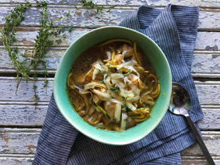 French Onion Chicken and Squash Noodles
