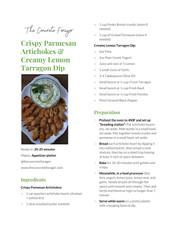 Crispy Parmesan Artichokes with Creamy Lemon Tarragon Dip