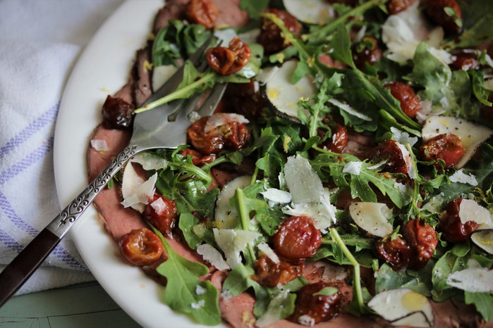 Roast Beef Carpaccio with Thyme Roasted Grapes
