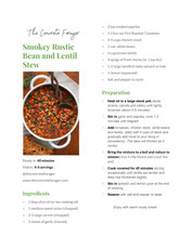 Smokey Rustic Bean and Lentil Stew
