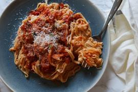 Kara Olsen Food Photographer Fresh Pasta with Sunday Gravy